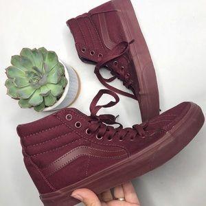"Vans // Maroon ""Off the Wall"" High Top Sneakers"